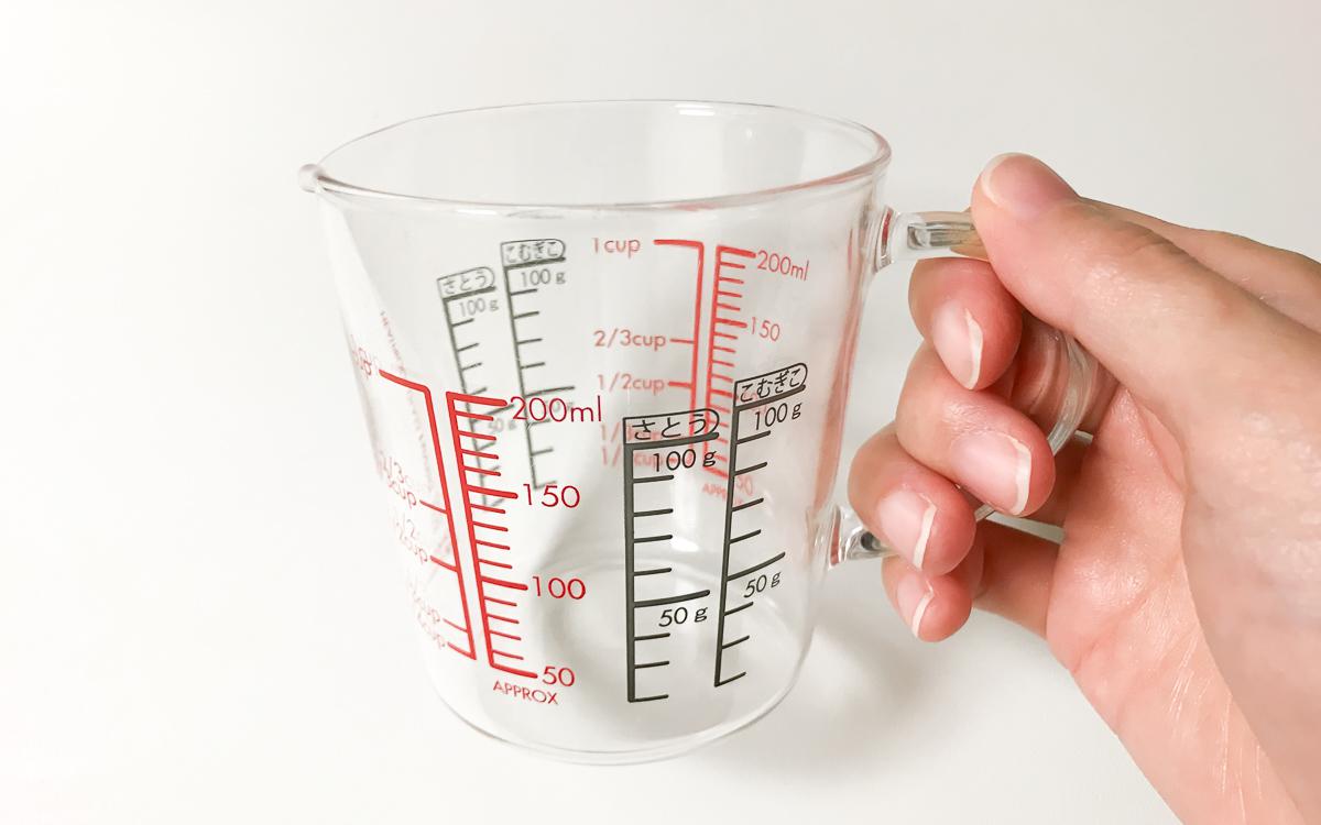 HARIO(ハリオ)の耐熱ガラス計量カップの持ち手