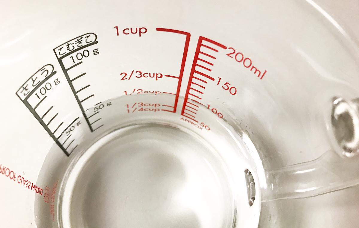 HARIO(ハリオ)の耐熱ガラス計量カップの目盛り