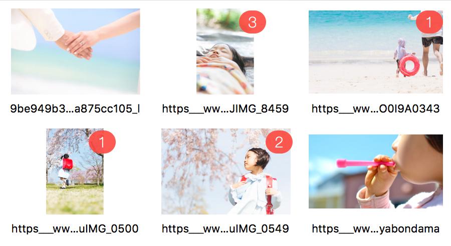 ビスタプリントのフルフラットフォトブックの編集ツールは、どの写真を入れたかがアイコンで一目でわかる