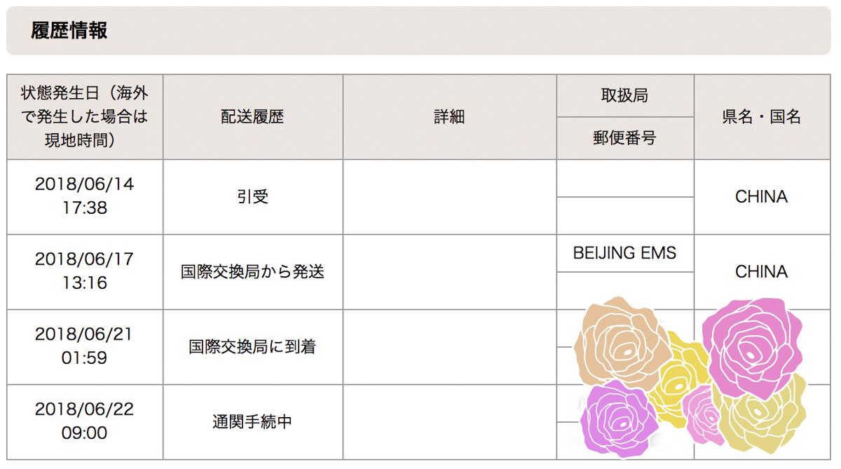 日本郵便のサイトのEMSの配送状況