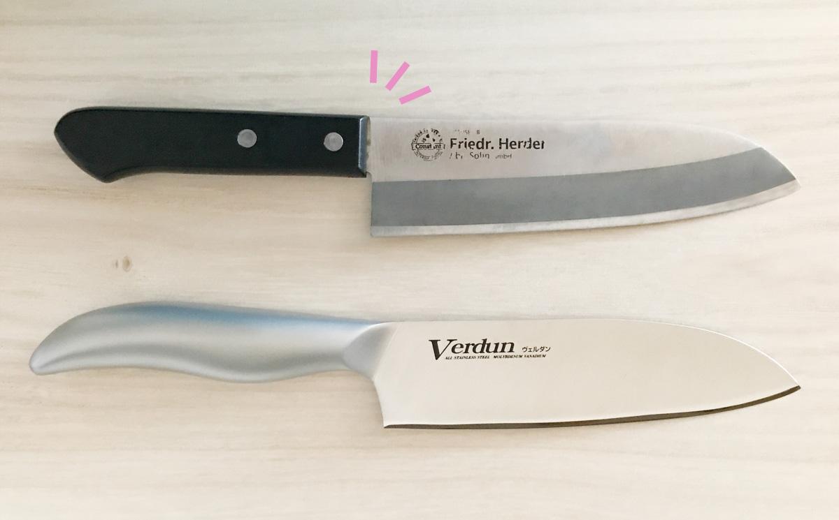 ヴェルダンの持ち手の継ぎ目と、以前使っていた包丁の継ぎ目の比較