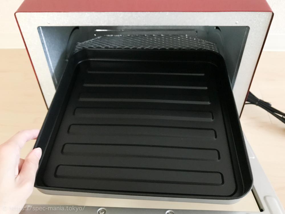 うまパントースターに付属のトレイをトースターに入れたところ